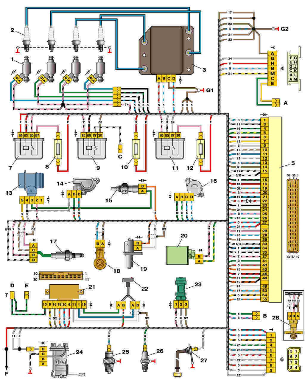 Схема ваз 21102 схема эбу